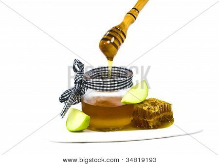 Honey and apple are symbols of Jewish New Year - rosh hashanah
