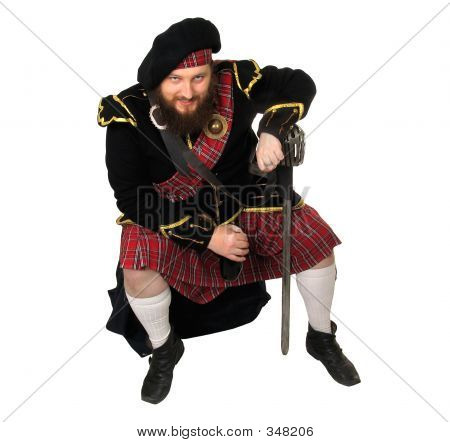 Scottish Warrior With Bottle Of Red Wine