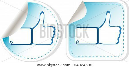 Stickers Set With Like Hand. Vector Illustration