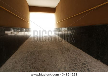 Tunnel - exit to the street. Perspective