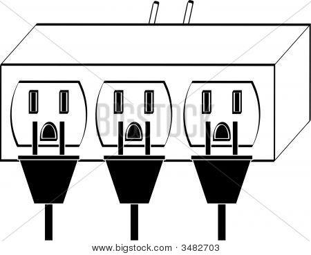 Adaptador de enchufe eléctrico completo con tapones.