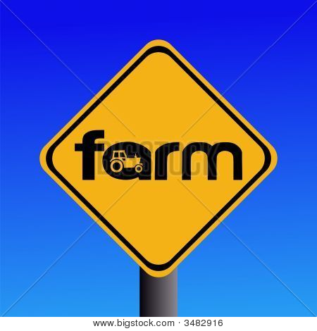 Farm Sign With Tractor