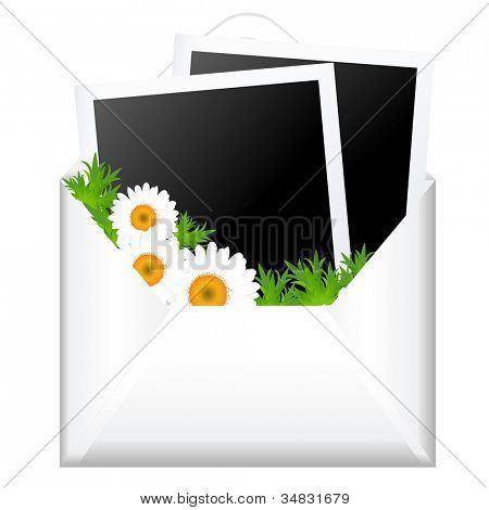 Open Envelope With Photo And Flowers, Isolated On White Background, Vector Illustration