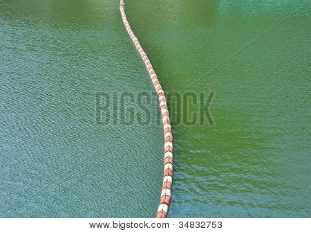 A line of floating buoy