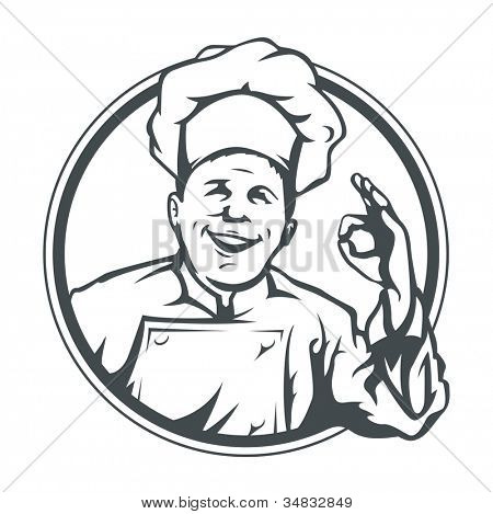 cook show ok in ring vector illustration isolated on white background