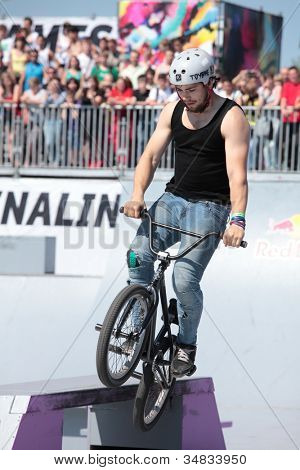 MOSCOW, RUSSIA - JULY 8: Konstantin Andreev, Russia, in BMX competitions during Adrenalin Games in Moscow, Russia on July 8, 2012
