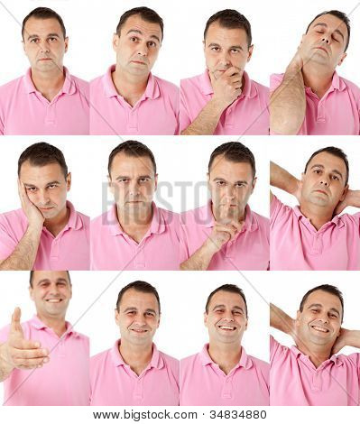 Portraits of man with pink shirt in multiple face expressions and gestures