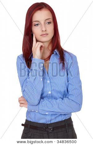 Puzzled, confused attractive redhead businesswoman, isolated on white