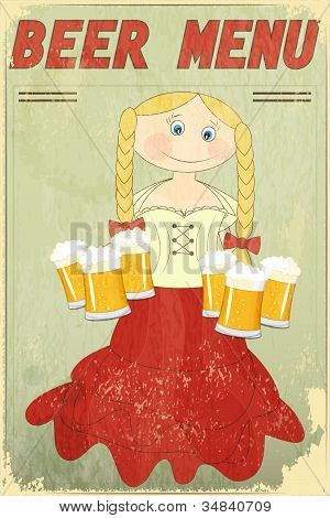 Retro Design Beer Menu - Blond Girl With Beer