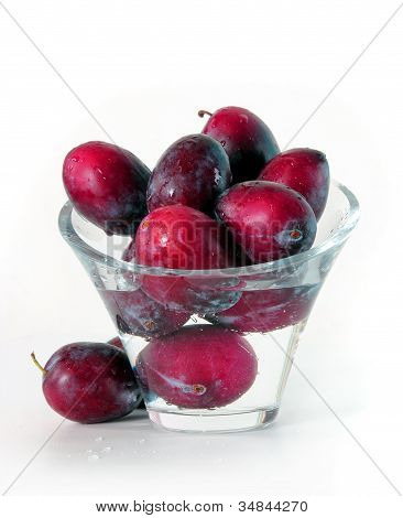 Plums in Glass Vase with Water