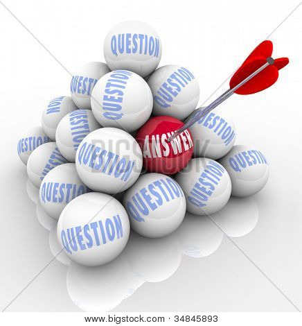 The word Answer on a red ball is targeted and hit with an arrow among many balls in a pyramid marked question to symbolize the successful resolution of a problem thanks to helpful advice and expertise