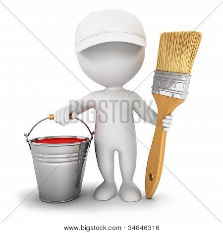 3d white people with brush and paint bucket