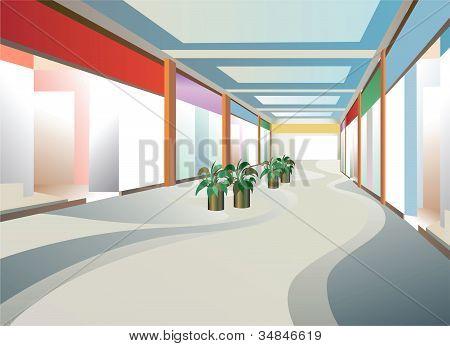 Interior do corredor no shopping com Windows, vetor
