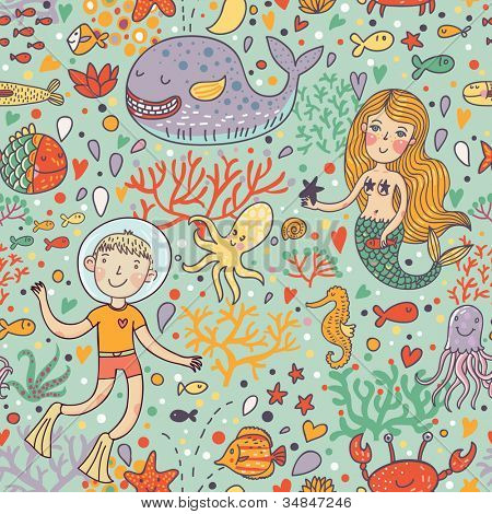 Funny color seamless pattern with sea live
