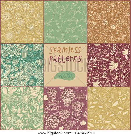 Set of eight vintage floral patterns (seamlessly tiling).Seamless pattern can be used for wallpaper, pattern fills, web page background,surface textures.