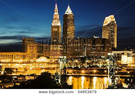 Cleveland During Blue Evening