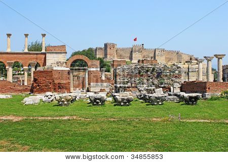 Ruins Of St. Johns Basilica And The Roman Fortress At Ayasuluk Hill - Selcuk Ephesus Turkey