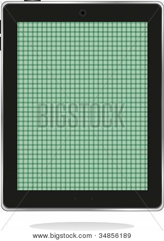 Illustrated Computer Tablet Pc ipad With Green Abstract Screen