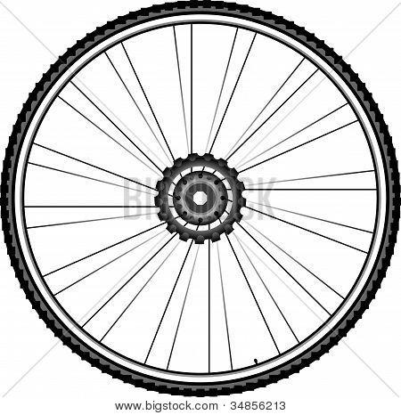 Fahrrad-Rad-Vektor-Illustration isoliert auf weißem Hintergrund