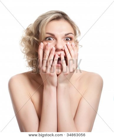 Shocked woman is smiling