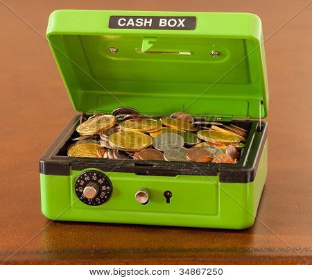 Green Cash Box With Gold And Silver Coins