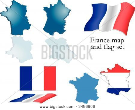 France Map And Flag Set
