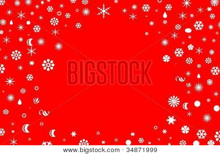 white snowflakes of many sizes drawn on a red background