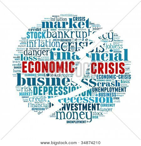 Economic Crisis in word collage
