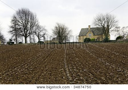 Plowed field in winter in Chipping Campden, England, UK