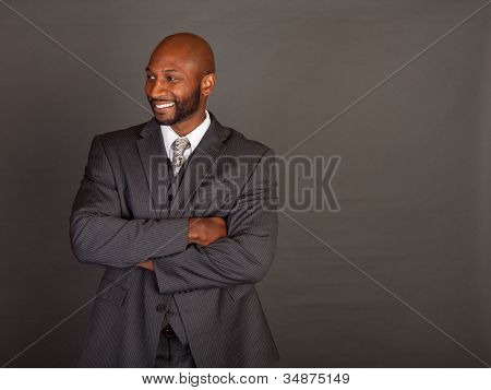 Young Black Business Man smiling