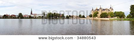 panorama of Schwerin (Germany) with lake, museum, cathedral and castle