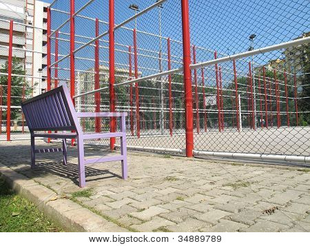 an image of basketball field in residential area