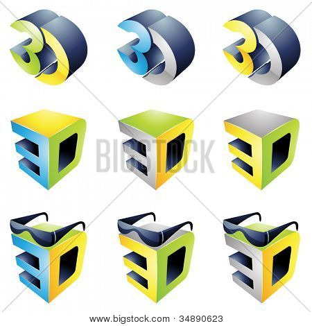 3D Viewing Experience icons isolated on a white background