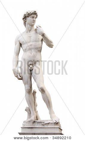 Michelangelo's David, Piazza della Signoria, Firenze, Italy. Isolated over white