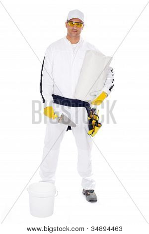 Worker In White Overalls Holding A Bucket Trowel Tools Package On A White Background