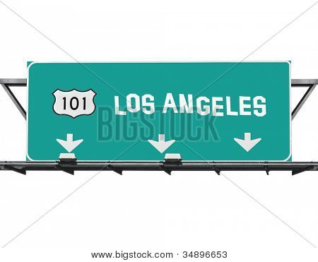 101 Hollywood freeway Los Angeles sign with hand made font.