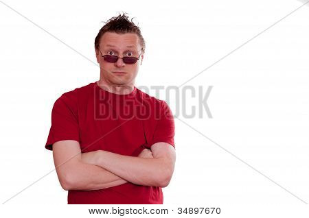 Man With Sunglasses Is Looking Suprised