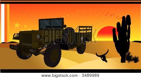 Car In Desert Vector