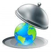 picture of stewardship  - Illustration of the world globe on a silver platter - JPG