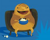 picture of couch potato  - Happy couch potato cartoon enjoying TV programs - JPG