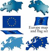 Europe Map And Flag Set poster
