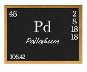 picture of palladium  - Blackboard with the signs of the periodic table - JPG