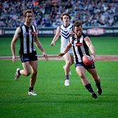 MELBOURNE - JUNE 30 : Jarryd Blair (R) kicks during Collingwood's win over Fremantle on June 30, 201