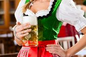 Young people in traditional Bavarian Tracht in restaurant or pub, one woman is standing with beer st