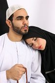 image of tasbih  - Husband Worships With Religious Beads While His Wife Is Asleep - JPG