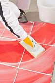 image of grout  - Worker Clean With Sponge Trowel Tile Joints Grout - JPG