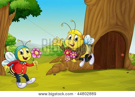 Illustration of the two bees near a treehouse