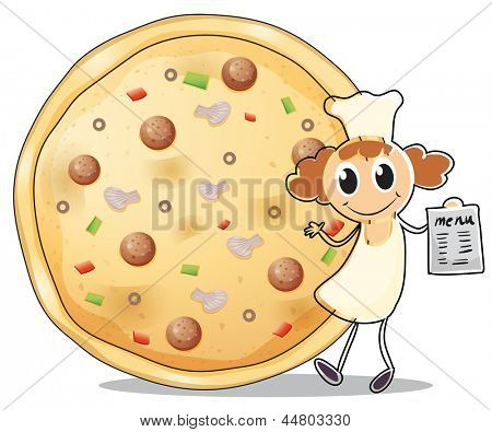 Illustration of a chef in front of a pizza pie on a white background