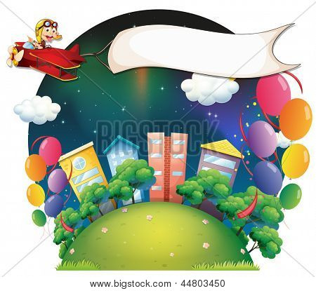Illustration of a monkey riding in a plane in the city with a banner on a white background
