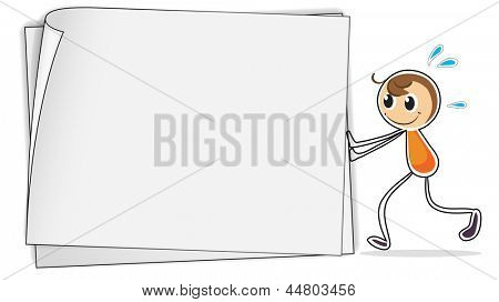 Illustration of a boy pushing a big blank paper on a white background
